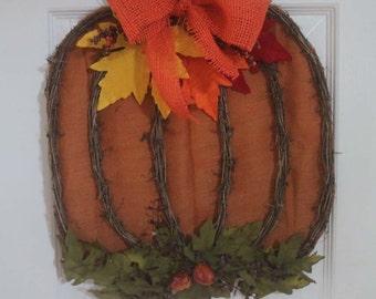 Fall Pumpkin wreath, Burlap Wreath, Thanksgiving decor, autumn door wreath, Thanksgiving, door wreath, wall decor
