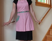 Pink Gingham Full Apron with Asian Floral Accents, Domestic Goddess, Retro Style, Kitchen, Cooking, Baking, Chef, Vintage Style