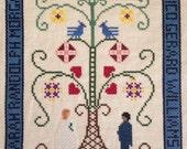 Custom Wedding Vows Anniversary Cross Stitch Sampler
