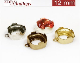 6pcs x Square 12mm Quality Cast Tray Bezel Setting fit Swarovski 4470 crystals DIY Choose Your Finish (N3V)