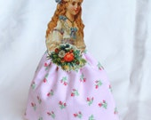 Victorian Girls Dolls, Vintage inspired paper and cloth doll