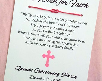 A Wish for Faith - Baptism Christening Infinity Knot Wish Bracelet Party Favor Custom Made for You