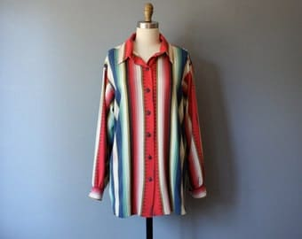 vintage southwestern blouse / 80s menswear shirt / M-L