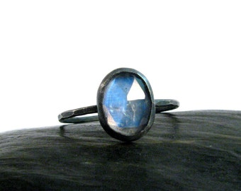 Moonstone Ring in Oxidized Sterling Silver - Stackable Rose Cut Oval Rainbow Blue Stackable Moonstone Ring - Size 7 Ring - Moon Stone