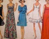 Vintage 1960s Cocktail Dress Pattern Simplicity 8495 Empire Waist Bust 36 MidCentury Mod