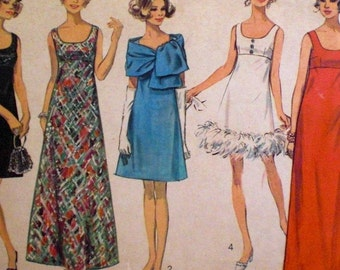 Vintage 1960s Cocktail Dress Pattern Simplicity 8495 Empire Waist Bust 36 MidCentury Mod