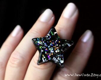 Brilliant Resin Star Ring, Full of Glitter Rainbow Sparkles, Chunky Resin Ring, Silver & Black Resin Star Ring, Handmade by isewcute