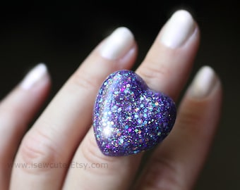 Resin Ring, Glitter Resin Ring, Sugared Plum Sparkly Deep Dark Purple Rainbow Heart Shaped Ring - Handmade Resin Glitter Ring by isewcute