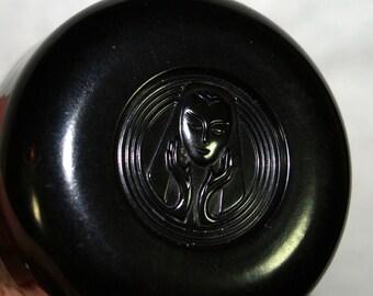Vintage Cream Jar with Woman Face Lid Deco Style - Bakelite?
