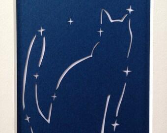 Cat Constellation, Navy Blue Night Sky, Handmade Papercut, Wall Art, Nursery Art
