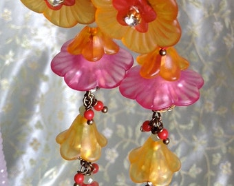 Lilygrace Long Pink and Orange Flower  Earrings with Vintage Rhinestones and Corals