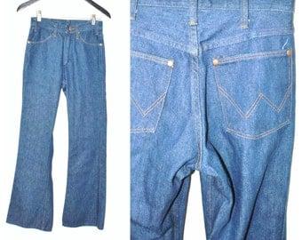 1970s vintage BELL bottoms 70s boho dark denim classic high waisted flare leg retro WRANGLER jeans size 25 26