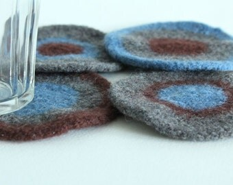 Hand-knit Felted Wool Coasters - Gray, Brown, Blue