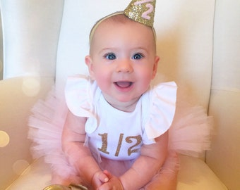 Half Birthday Outfit Girl Tutu, Half Birthday Tutu, Baby Girl Tutu Skirt, SEWN Tutu, Tulle Skirt, Pink Tutu, Custom Tutu, Cake Smash Tutu