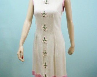 Vintage 60s Shift Dress . Pink Ribbon Roses & Embroidery On White Dress . S M
