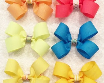 Girls Assorted Bows Girls Hair Bows Solid Color Bows Barrettes And Clips Infant Hair Bows Blue Hair Bows Yellow Hair Bows