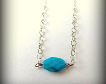 Turquoise Silver Chain Necklace Stone Magic Truthful