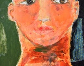 Acrylic Mixed Media Collage Portrait Painting. Bald Girl Painting. Bold Colors Painting. Art Gift for Her.
