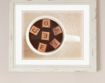 Coffee Artwork | Kitchen Art | Office Decor | Caffeine Junkie Print | Gift for Her | Coffee Mug | Scrabble Tiles Artwork | Coffee Letters