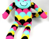 Sock Monkey NIXON : pink, aqua, mint, black, scale, bunting, happy socks handmade plush sock toy softie.