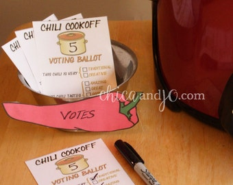 Chili Cookoff Voting Ballot Printables -- DIGITAL -- with Scoring Spreadsheet
