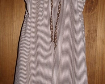 Girls Size 14-16 Pillowcase Style NightGown/Dress in Brown and White Striped Cotton Seersucker