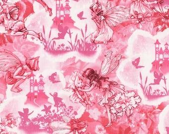 Flower Fairy  Dreamland Pink Cicely Mary Barker Fairies fabric 1 yard