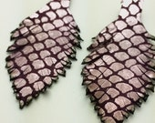 Two Purple and Lavendar Leather Feathers 006