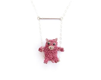 Pig on a swing necklace - cute pig jewelry, animal necklace, animal jewelry, miniature crochet pig, unusual necklace, animal pendant