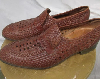 Men's Vintage Shoes 1970's Tan Brown Woven Leather Loafer Florsheim Shoes