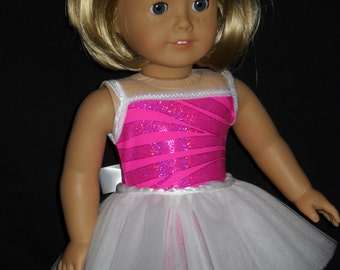 Tutu Dance Outfit White and Pink American Girl 18 inch Doll Handmade