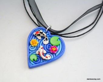 Fimo Heart Pendant with Koi Pond Polymer Clay Filigree Valentine's Day Gift