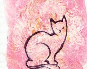 Pink Kitten Monoprint Modern Cat Art, One of a Kind Art, Siamese Cat Art, Colourful Cat Art Abstract, Kitten Print, Original Cat Nursery Art