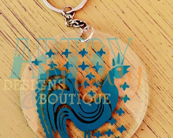 Vintage Pyrex Amish Butterprint Rooster Keychain