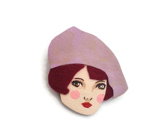 French Girl Fabric Brooch, Felt Brooch, Art Brooch, Wearable Art Jewelry, Mother's Day Gift