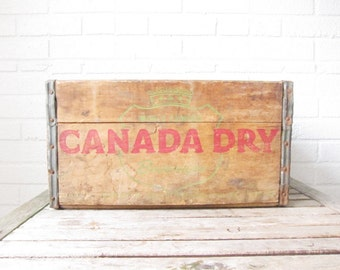 Vintage Canada Dry Crate - Rustic Wood Box - Antique Wooden Crate - Shabby Chic Decor - 1950s 50s 1960s 60s