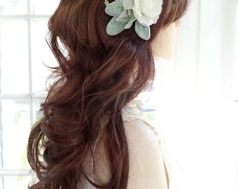 bridal hair clip, hair flowers for wedding, ivory flower, bridal hair piece, wedding hair clip, hair flower, hair comb, wedding hairpiece,
