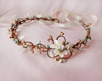mint headband, gold hair accessories, bridal headband, wedding headpiece, mint wedding hair piece, mint flower crown, floral crown bridal