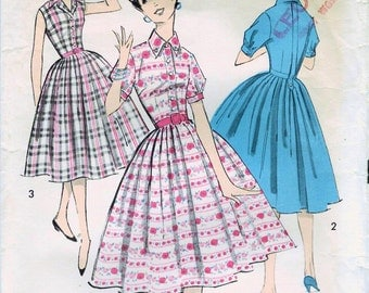 1950s Advance 8564 Vintage Sewing Pattern Teen's Short Sleeve  or Sleeveless Shirtwaist Dress Size 10 Bust 30