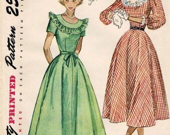1940s Simplicity 2524 Vintage Sewing Pattern Teen Dress, Party Dress, Tea Length Dress Size 14 Bust 32
