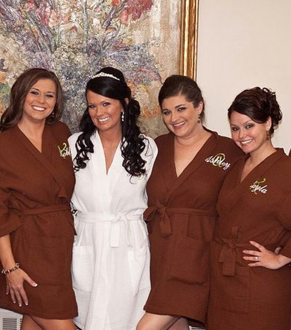 Monogrammed Brown Bridesmaid Robes, Bridesmaid Robes, Bridesmaid Gifts, Brown Robes, Personalized Gift, Gift for Her