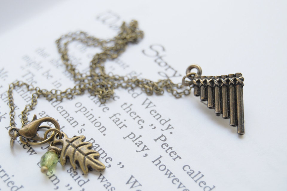 Peter Pan Flute Pipes Necklace Cute Peter Pan Charm Necklace