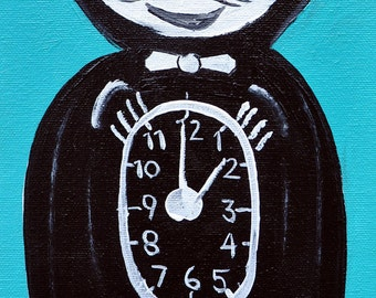 "Original Vintage Kit-Cat Clock Painting, 6"" x 12"""
