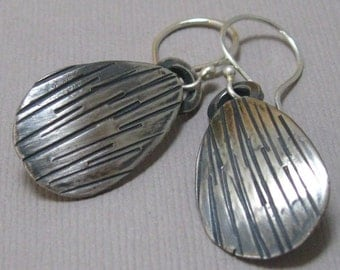 Sterling seashell hand forged drop earrings, handmade artisan dangle earrings with brushed finish