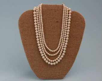 Four Strand Faux Pearl Necklace - Vintage Costume Jewelry