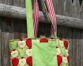 Stripes & Apples Handbag