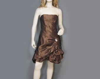Vintage Dress 80s Strapless Metallic Brown Taffeta Bubble Skirt Gunne Sax Rhinestone Accent  S XS
