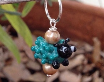 Colorful Sheep Stitch Marker Charm--Teal/Blue/Turquoise