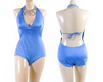 Vintage 80s Swimsuit // 1980s Swimsuit // Plunge Swimsuit // Halter Swimsuit // Bathing Suit - sz M