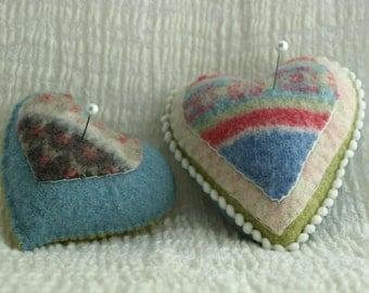 Pincushion - Large Woolen Heart Pincushion